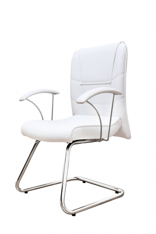 Cadeira Interlocutor Cromada Sertãozinho - Cadeira Interlocutor Branca