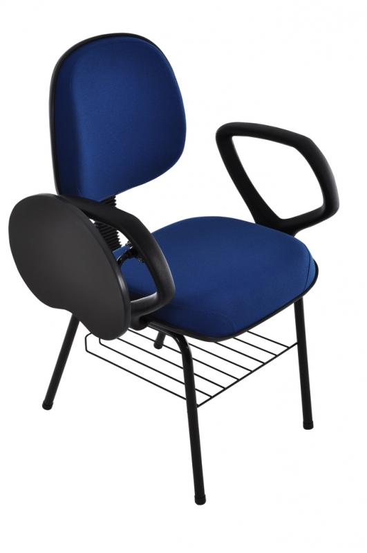 Loja de Cadeira Universitária Estofada com Prancheta Escamoteável Jardim Lisboa - Cadeira Universitária Azul