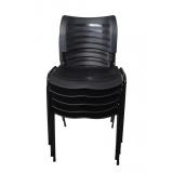 cadeira plástica fixa empilhável iso preta valores Araras
