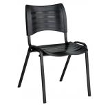 cadeira plástica fixa empilhável iso preta